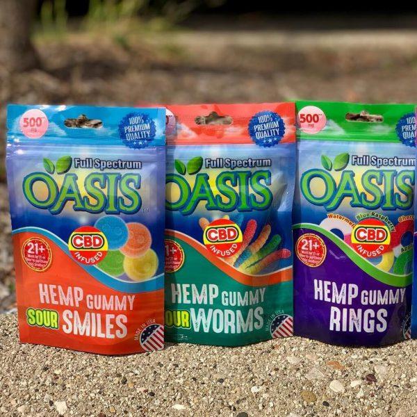 OASIS FULL SPECTRUM CBD GUMMY SOUR SMILES 15ct/bag 35mg/gummy