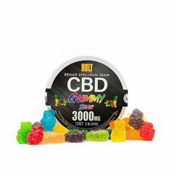 BOLT CBD GUMMIES Fruit Flavored GUMMY BEAR 3000MG - 120CT
